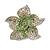 Small Green Diamante Flower Brooch (Silver Tone)