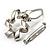 Twirl Crystal Scarf Pin/ Brooch (Silver Tone) - view 3
