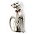 Silver Tone Cat With Red Bow