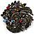 Dramatic Diamante Corsage Brooch (Black&Multicoloured) - view 7