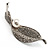 Exquisite Crystal Simulated Pearl Leaf Brooch (Silver Tone) - view 3