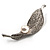 Exquisite Crystal Simulated Pearl Leaf Brooch (Silver Tone)