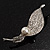 Exquisite Crystal Simulated Pearl Leaf Brooch (Silver Tone) - view 2