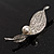 Exquisite Crystal Simulated Pearl Leaf Brooch (Silver Tone) - view 7