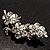 Swarovski Crystal Floral Brooch (Silver Tone)