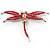 Pink-Red Enamel Dragonfly Brooch - view 3