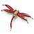 Pink-Red Enamel Dragonfly Brooch