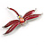 Pink-Red Enamel Dragonfly Brooch - view 4