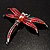 Pink-Red Enamel Dragonfly Brooch - view 7