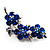 Top Grade Austrian Crystal Floral Brooch (Silver Tone & Sapphire Coloured) - 55mm Long