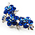 Top Grade Austrian Crystal Floral Brooch (Silver Tone & Sapphire Coloured) - 55mm Long - view 2