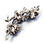 Top Grade Austrian Crystal Floral Brooch (Silver Tone & Sapphire Coloured) - 55mm Long - view 3