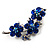 Top Grade Austrian Crystal Floral Brooch (Silver Tone & Sapphire Coloured) - 55mm Long - view 4