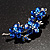Top Grade Austrian Crystal Floral Brooch (Silver Tone & Sapphire Coloured) - 55mm Long - view 5