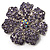 Purple Crystal Corsage Flower Brooch (Silver Tone)
