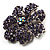 Purple Crystal Corsage Flower Brooch (Silver Tone) - view 2