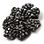 Iridescent Black Crystal Corsage Flower Brooch (Black Tone) - view 2