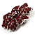 Hot Red Crystal Corsage Flower Brooch (Silver Tone) - view 2