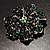 Emerald Green Crystal Corsage Flower Brooch (Silver Tone) - view 4