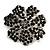 Jet-Black Crystal Corsage Flower Brooch (Black Tone Metal) - view 6