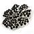Jet-Black Crystal Corsage Flower Brooch (Black Tone Metal) - view 7