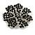 Jet-Black Crystal Corsage Flower Brooch (Black Tone Metal) - view 8