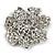 Jet-Black Crystal Corsage Flower Brooch (Black Tone Metal) - view 5