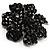 Jet-Black Crystal Corsage Flower Brooch (Black Tone Metal) - view 2
