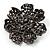 Jet-Black Crystal Corsage Flower Brooch (Black Tone Metal) - view 4