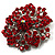 Victorian Corsage Flower Brooch (Silver&Bright Red) - view 2