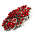 Victorian Corsage Flower Brooch (Silver&Bright Red) - view 3