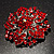 Victorian Corsage Flower Brooch (Silver&Bright Red) - view 5