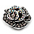Romantic Vintage Dimensional Crystal Rose Brooch (Black&White) - view 7