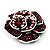 Romantic Vintage Dimensional Crystal Rose Brooch (Black&Red) - view 8