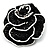 Romantic Vintage Dimensional Crystal Rose Brooch (Jet Black&White)