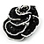 Romantic Vintage Dimensional Crystal Rose Brooch (Jet Black&White) - view 4