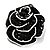 Romantic Vintage Dimensional Crystal Rose Brooch (Jet Black&White) - view 6