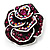 Romantic Vintage Dimensional Crystal Rose Brooch (Black&Fuchsia ) - view 5