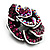 Romantic Vintage Dimensional Crystal Rose Brooch (Black&Fuchsia ) - view 2