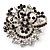 Black & White Diamante Corsage Brooch (Silver Tone)