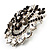 Black & White Diamante Corsage Brooch (Silver Tone) - view 4