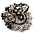 Black & White Diamante Corsage Brooch (Silver Tone) - view 6