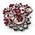Jet-Black & Magenta Diamante Corsage Brooch (Silver Tone)