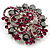 Jet-Black & Magenta Diamante Corsage Brooch (Silver Tone) - view 3