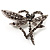 Ash Grey Crystal Butterfly And Heart Brooch (Silver)