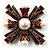 Precious Heirloom Imitation Pearl Cross Brooch (Copper Tone) - view 5