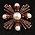 Precious Heirloom Imitation Pearl Cross Brooch (Copper Tone) - view 7