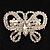Unique Swarovski Crystal Butterfly Brooch (Silver Tone) - view 2