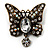 Vintage Butterfly With Dangling Floral Tail Brooch (Antique Bronze Tone)