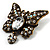 Vintage Butterfly With Dangling Floral Tail Brooch (Antique Bronze Tone) - view 2